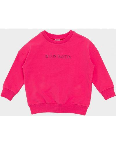Розовый базовый хлопковый свитшот Button Blue