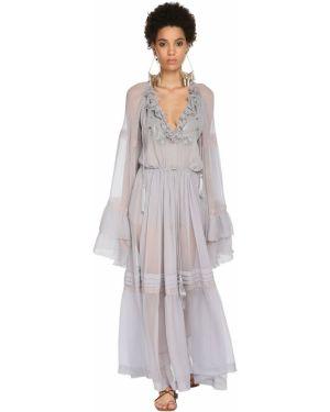Платье макси с вышивкой со вставками Etro