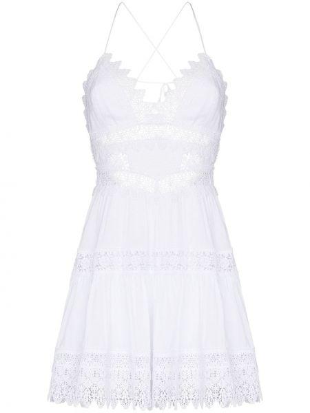 Biała sukienka mini bawełniana z dekoltem w serek Charo Ruiz Ibiza