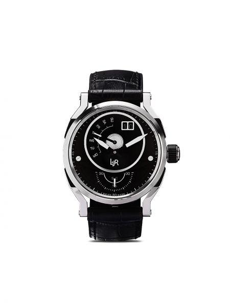 Кожаные черные часы c сапфиром L&jr