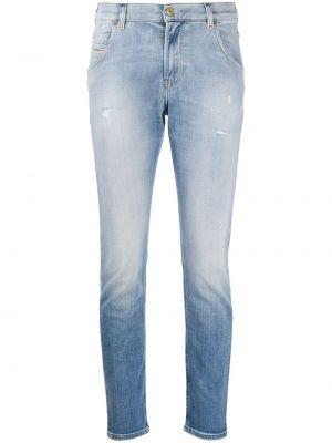 Рваные укороченные джинсы с пайетками в стиле бохо Diesel