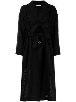 Черное длинное пальто свободного кроя на пуговицах Rejina Pyo