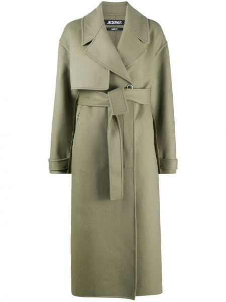 Zielony płaszcz wełniany z długimi rękawami Jacquemus