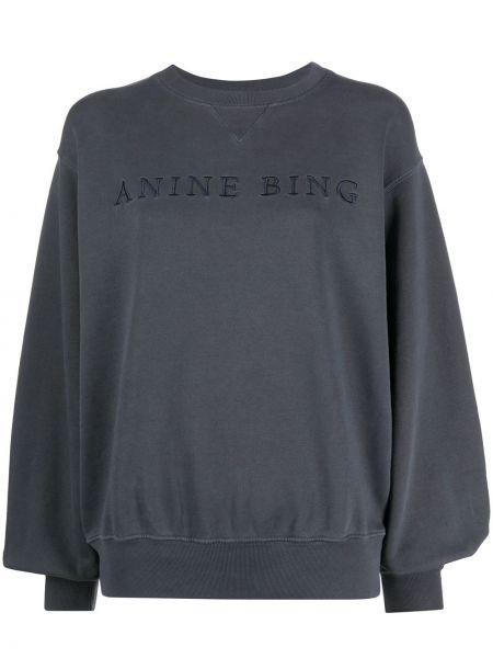 Хлопковая с рукавами синяя толстовка с вырезом Anine Bing