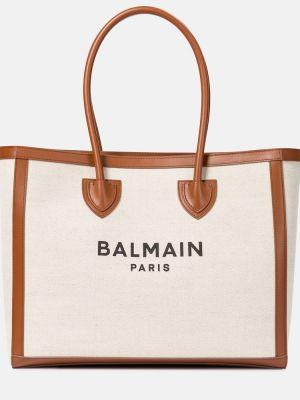 Dom beżowy bawełna brezentowy torba na zakupy Balmain