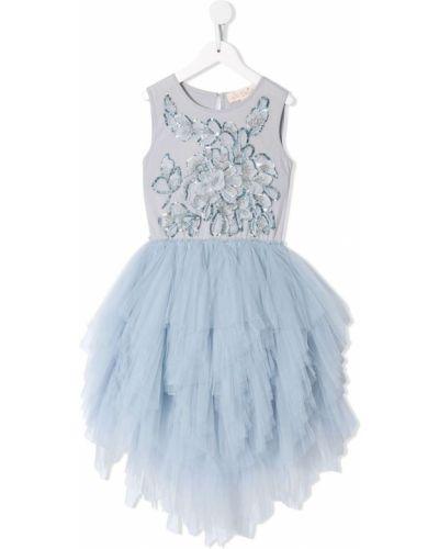 Синее платье с пайетками из фатина на пуговицах Tutu Du Monde