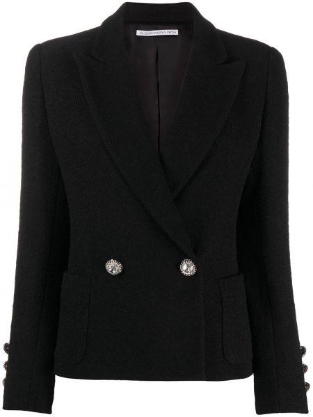 Черный приталенный пиджак двубортный Alessandra Rich