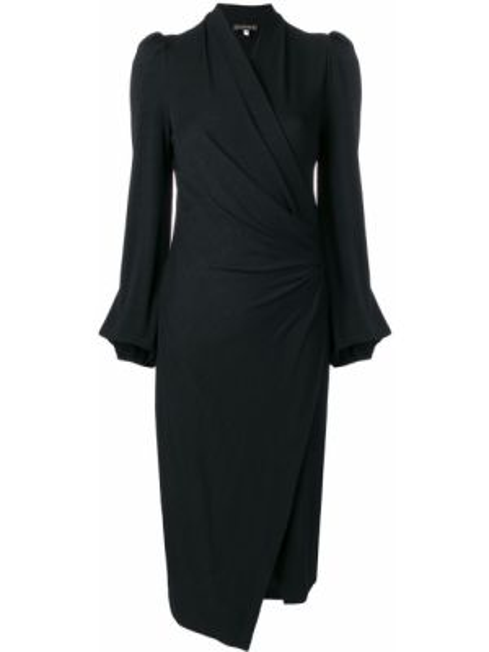 Черное приталенное платье с запахом с драпировкой Plein Sud