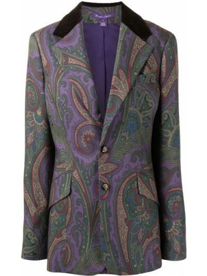 Фиолетовый однобортный удлиненный пиджак с подкладкой Ralph Lauren Collection