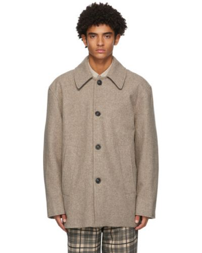 Бежевое шерстяное длинное пальто с воротником с подкладкой Schnaydermans