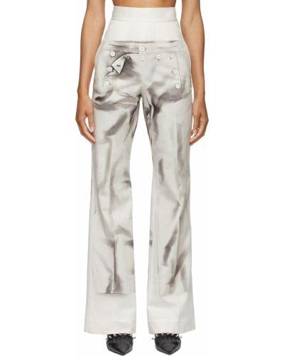 Białe spodnie bawełniane Jean Paul Gaultier