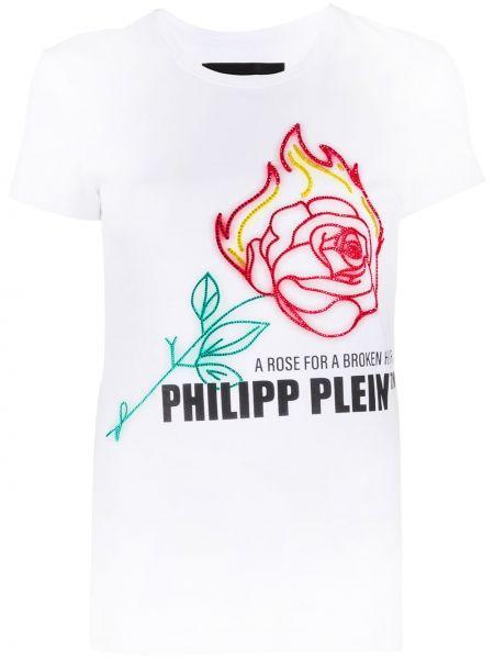 Прямая белая футболка с вырезом Philipp Plein