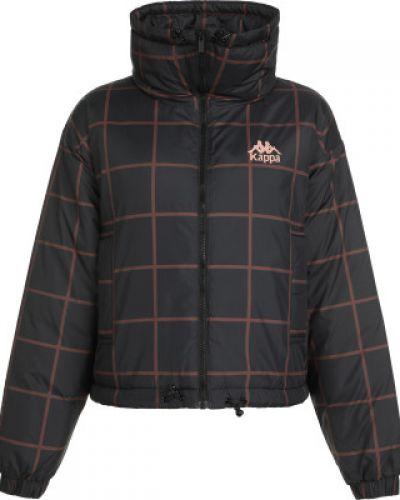 Теплая свободная черная куртка с капюшоном на молнии Kappa