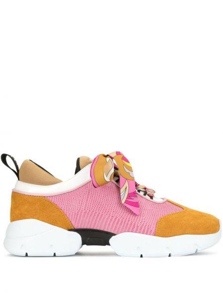 Skórzane sneakersy różowy z nadrukiem Emilio Pucci