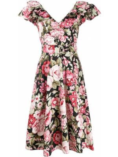 Платье с поясом розовое с цветочным принтом P.a.r.o.s.h.