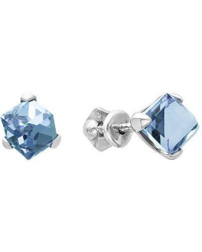 Серебряные серьги голубой серьги-гвоздики серебро россии