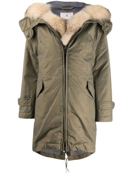 Пальто с капюшоном зеленое на молнии Peuterey