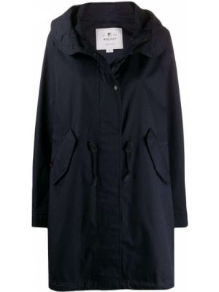 Пальто с капюшоном длинное без воротника Woolrich