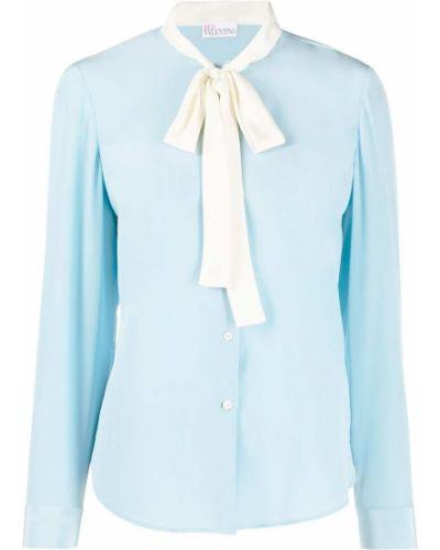 Синяя шелковая блузка с бантом Red Valentino