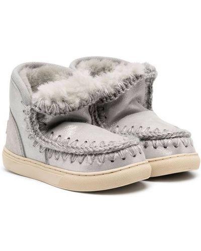 Шерстяные серебряные ботинки с подкладкой Mou Kids