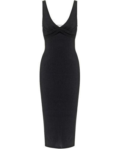 Черное платье миди из вискозы Jonathan Simkhai