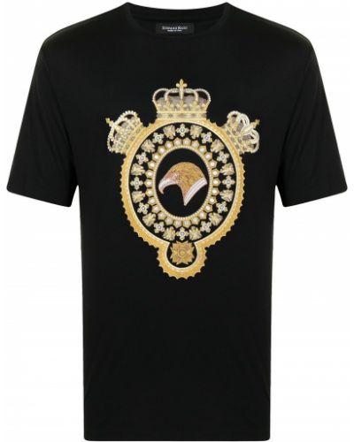 Czarny t-shirt bawełniany krótki rękaw Stefano Ricci