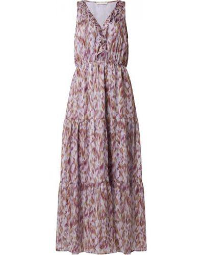 Fioletowa sukienka długa rozkloszowana z falbanami Freebird