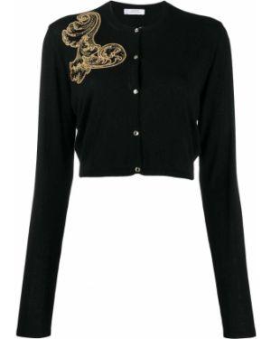 Черный кардиган на пуговицах с вышивкой Versace Collection