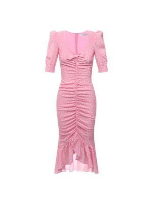 Шелковое розовое платье с подкладкой Alessandra Rich
