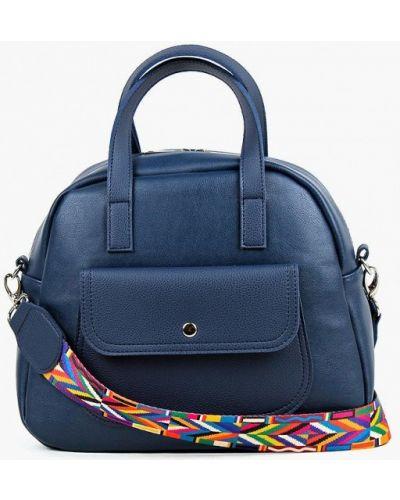 Синяя кожаная сумка с ручками медведково