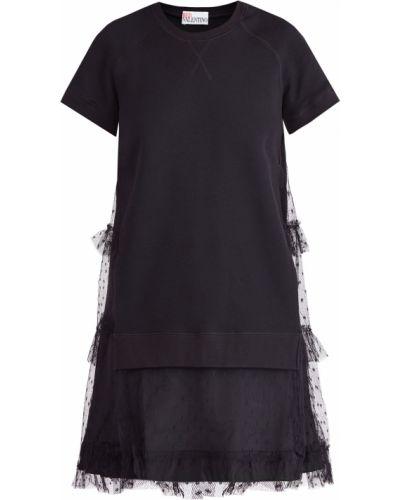 Платье мини в горошек с оборками Redvalentino