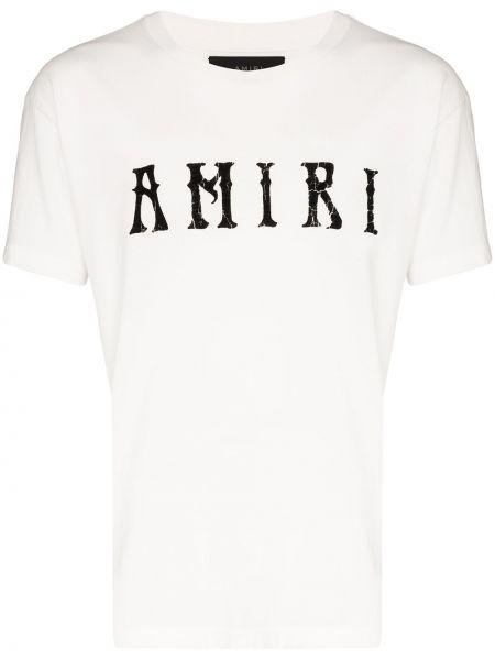 Koszula krótkie z krótkim rękawem skórzany z logo Amiri
