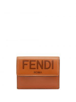 Brązowy portfel na monety skórzany Fendi