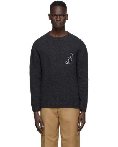 Белый свитер из мохера с воротником с вышивкой Schnaydermans