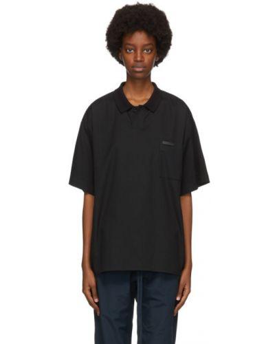 Czarny koszulka polo z kieszeniami krótkie rękawy z kołnierzem Fear Of God
