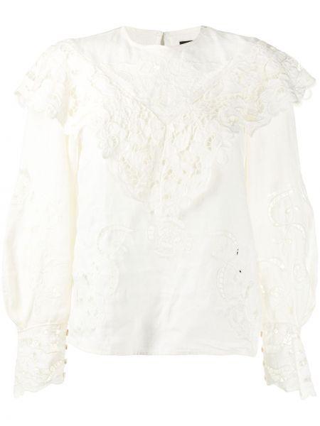 С рукавами кружевная белая блузка Isabel Marant