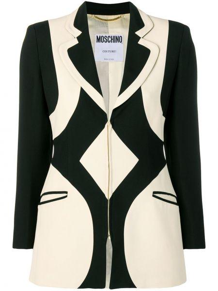 Черный пиджак с карманами на молнии винтажный Moschino Pre-owned