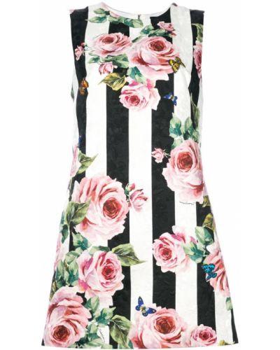 Платье макси с цветочным принтом в полоску на пуговицах Dolce & Gabbana
