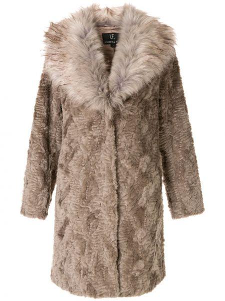 Прямое серое длинное пальто с капюшоном Unreal Fur