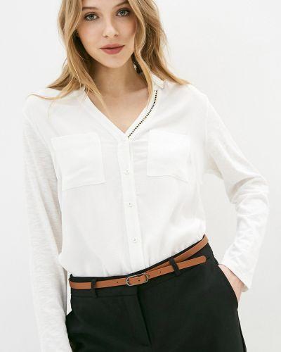 Белая блузка с V-образным вырезом из вискозы Baon