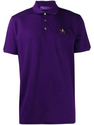 Классическая фиолетовая рубашка с короткими рукавами на пуговицах Ralph Lauren Purple Label