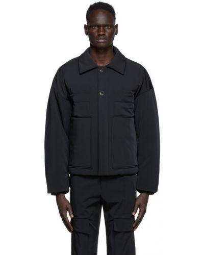 Теплая черная нейлоновая длинная куртка с манжетами Wooyoungmi