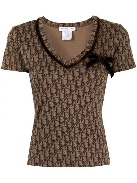 Brązowy t-shirt krótki rękaw bawełniany Christian Dior