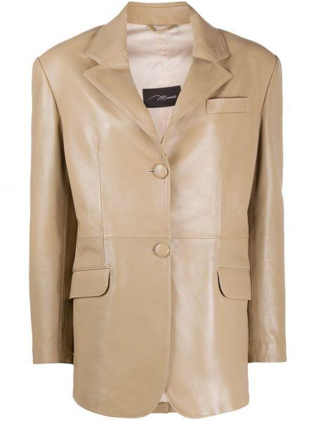 Бежевый кожаный пиджак с карманами Manokhi