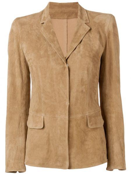 Деловой кожаный пиджак с карманами Sylvie Schimmel