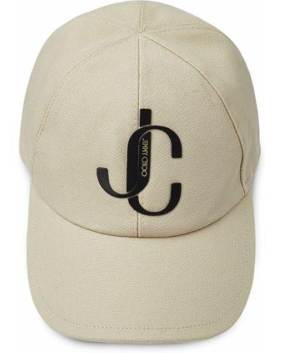 Хлопковая ватная бежевая кепка Jimmy Choo