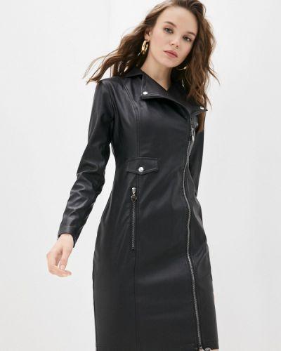Кожаное черное платье Teratai