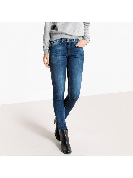 Хлопковые синие потертые джинсы-скинни с пайетками Le Temps Des Cerises