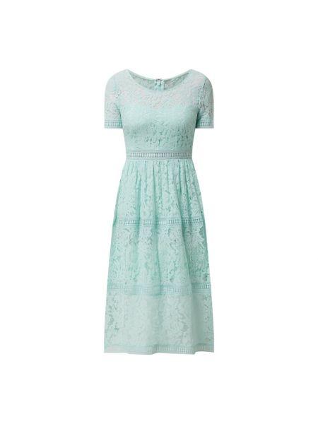 Zielona sukienka midi rozkloszowana koronkowa Apart Glamour