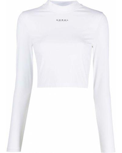 Прямая белая футболка с воротником Koral